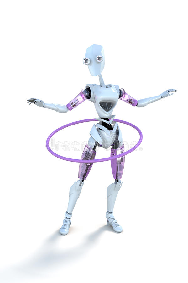 Robot with Hula Hoop royalty free stock photography