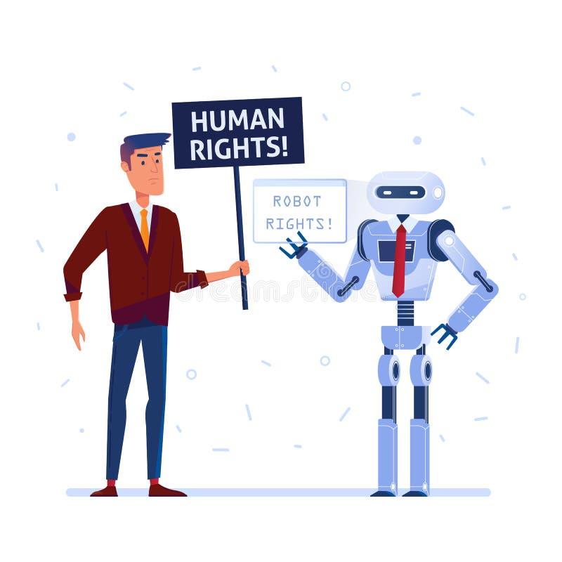 Le robot et l'homme se battent pour leurs droits.  illustration libre de droits