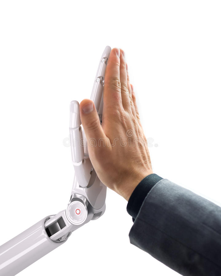 Robot and Human Giving a High Five. Artificial Intelligence Technology 3d Illustration royalty free stock photos