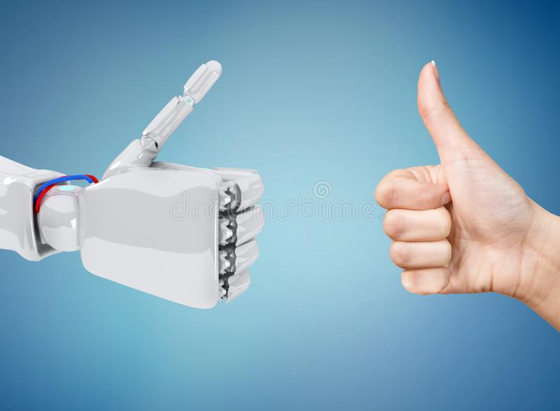 Robot and human hands shows thumbs up gesture. royalty free stock image