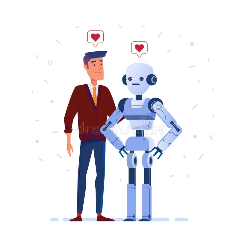 Robot and human in love. vector illustration