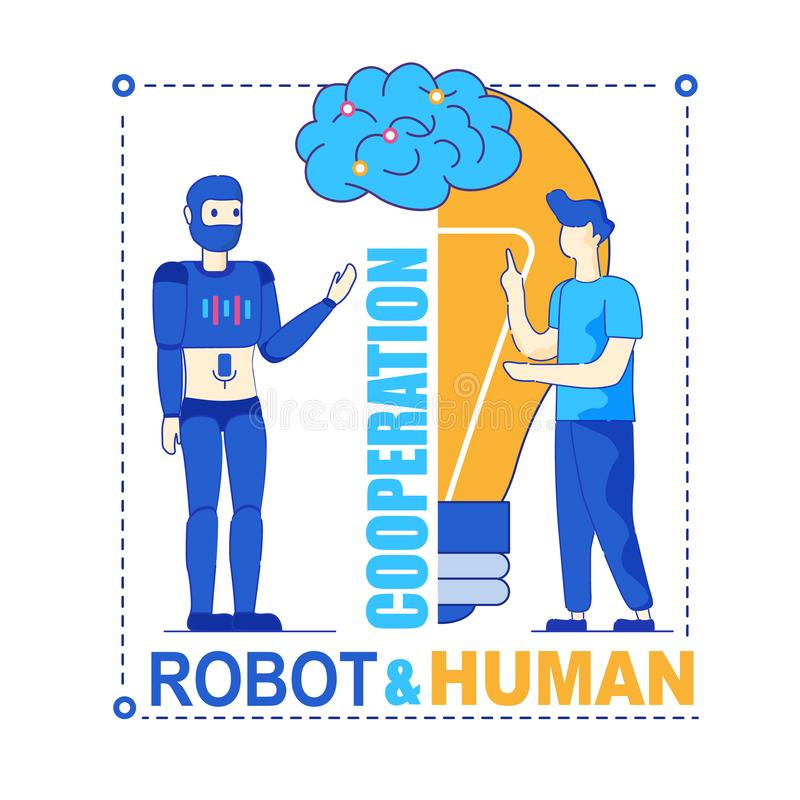Robot and Human Productive Symbiotic Cooperation royalty free illustration
