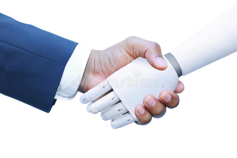 Robot and Human shaking hands royalty free stock image