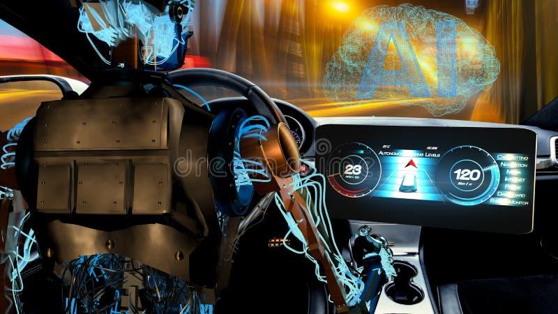 Robot Humanoid que conduce el coche, visión de la inteligencia artificial en automotriz stock de ilustración
