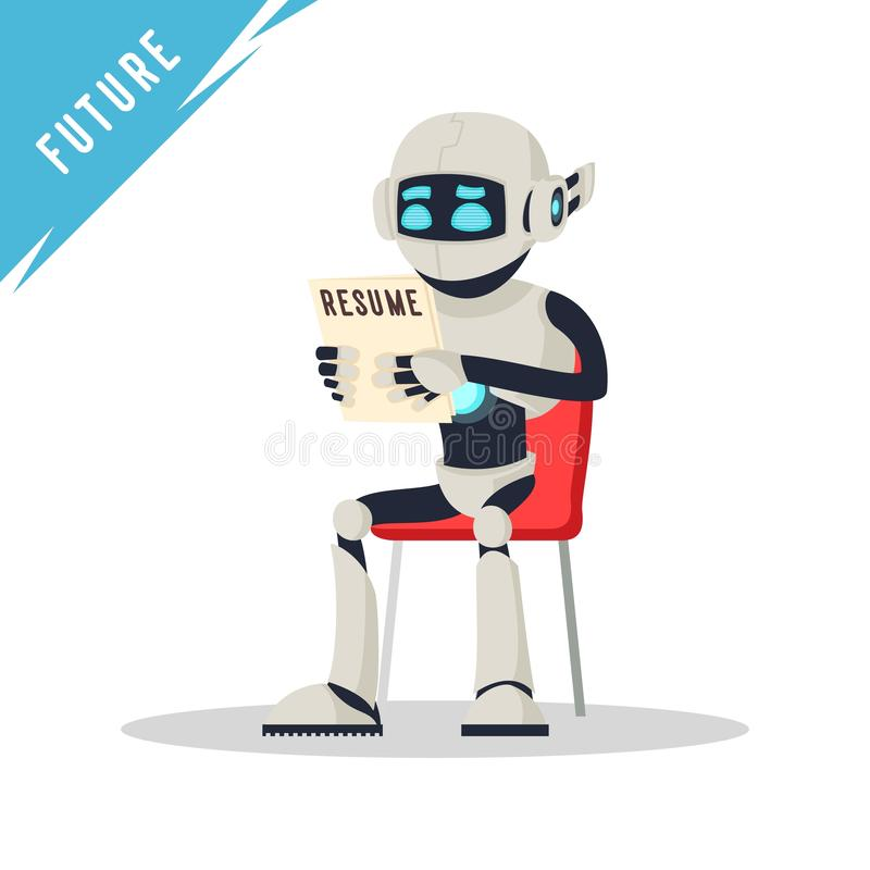 Robot Humanoid que se sienta en silla, llevando a cabo el curriculum vitae y esperando entrevista de trabajo libre illustration