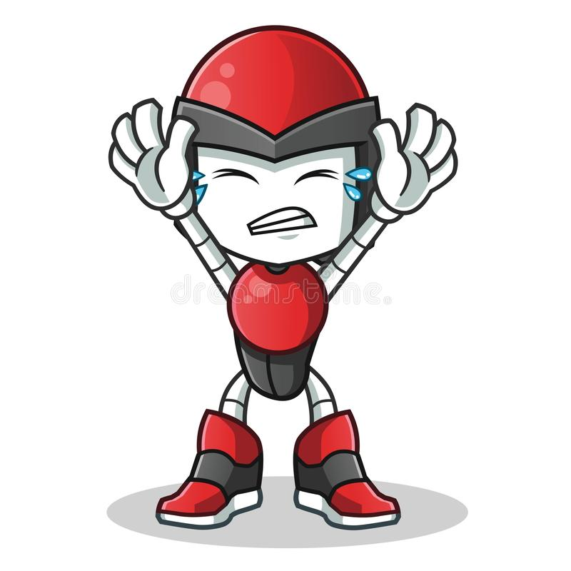 Robot humanoid surrender mascot vector cartoon illustration. This is an original character royalty free illustration