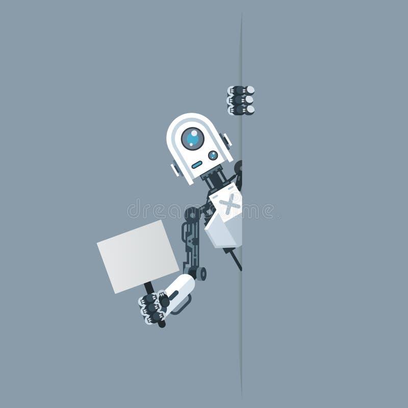 Robot humanoide esquina con afiche en mano tecnología de inteligencia artificial ciencia ficción diseño 3d vector stock de ilustración