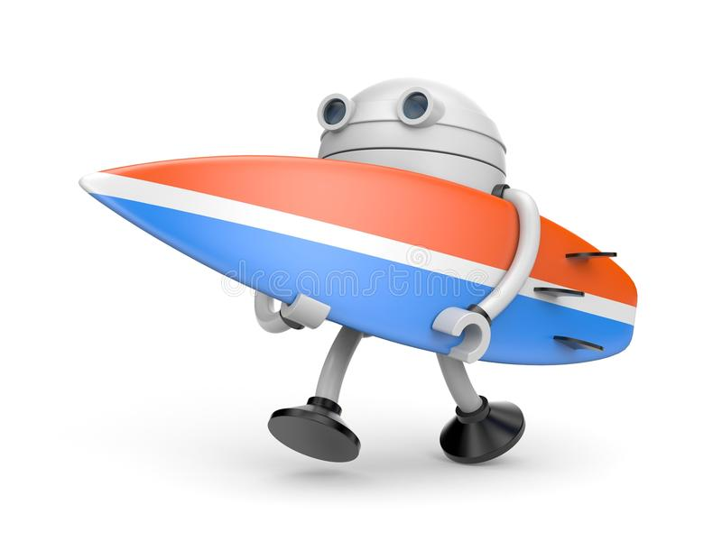 The robot hurries to surf stock illustration