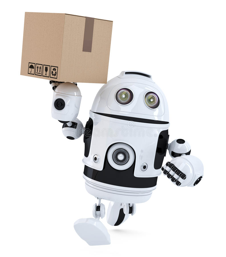 Robot on a hurry delivering package. . Contains clipping path. Robot on a hurry delivering package. over white. Contains clipping path royalty free illustration
