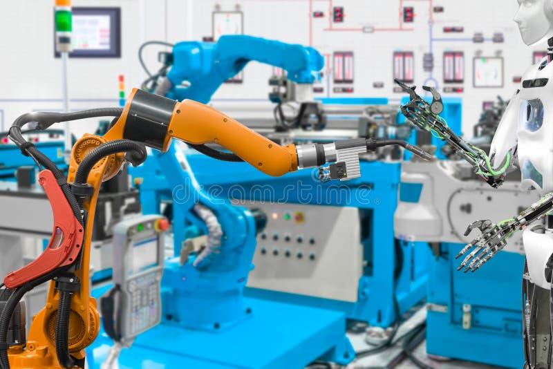 Robot i den smarta fabriken, framtida teknologibegrepp royaltyfri fotografi