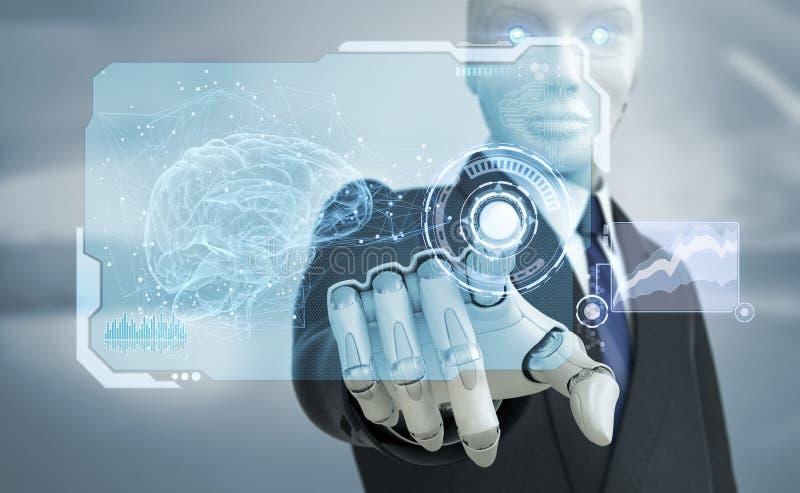 Robot i dräkten som arbetar med den tekniskt avancerade pekskärmen stock illustrationer