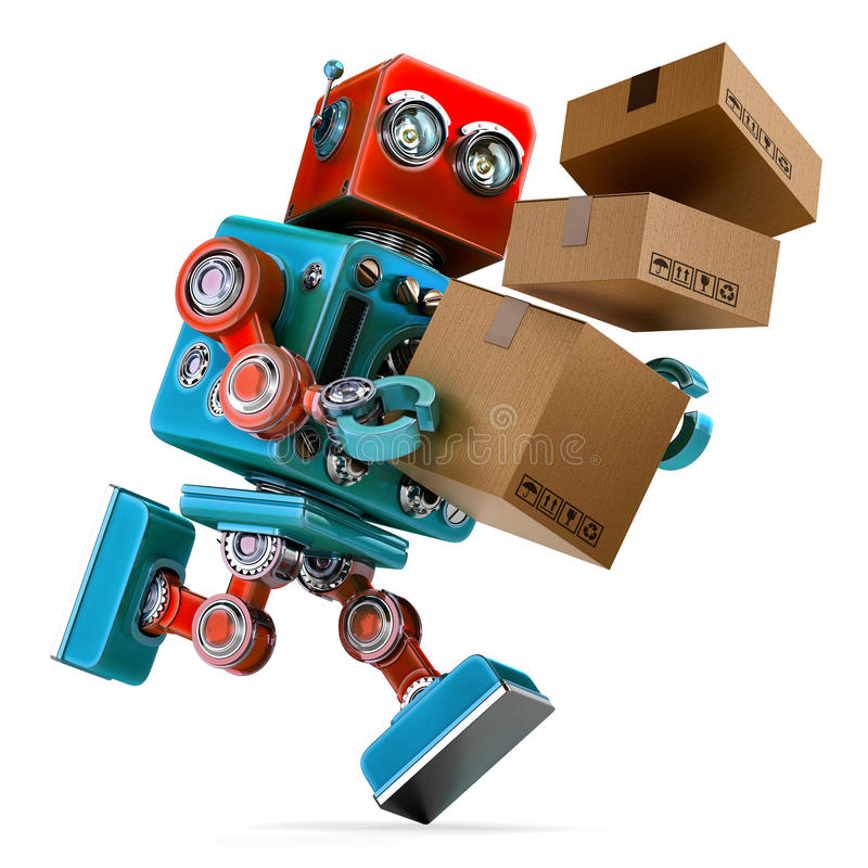 Robot i en rusa som levererar en packe Jordlottservice Innehåller den snabba banan stock illustrationer