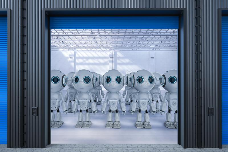 Robot i fabrik royaltyfria bilder
