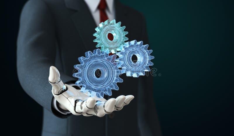 Robot i hållande coghwheels för dräkt i hans hand royaltyfri illustrationer