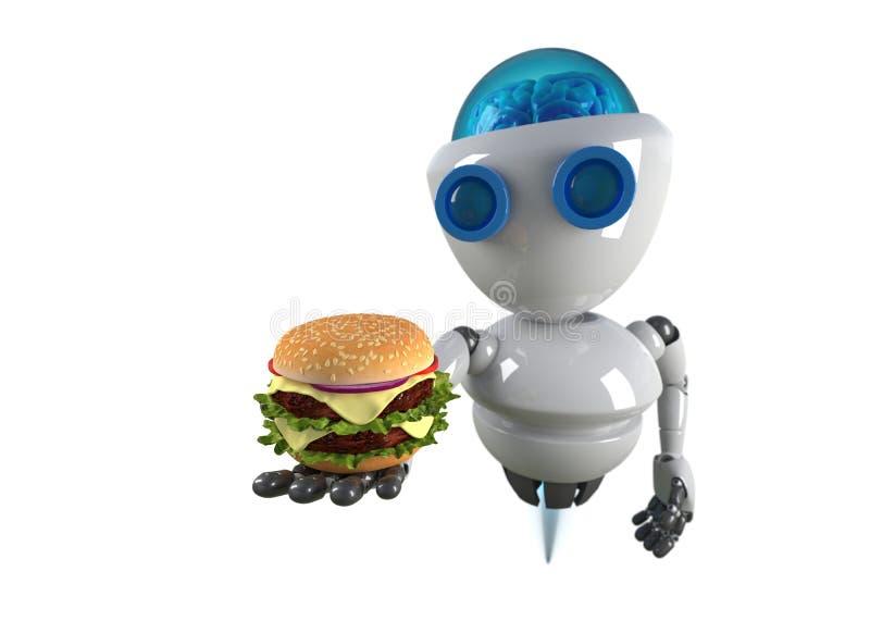 Robot i hamburger w ręce odizolowywającej royalty ilustracja