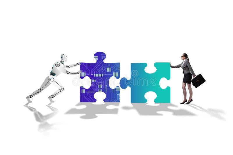 Robot i istota ludzka współpracuje w wyrzynarki łamigłówce obraz royalty free