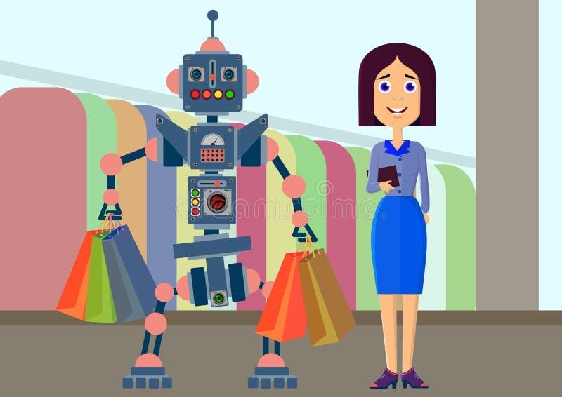 Robot i mężczyzna robimy zakupowi w sklepie royalty ilustracja