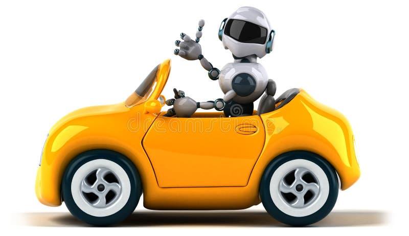 Robot i samochód ilustracji