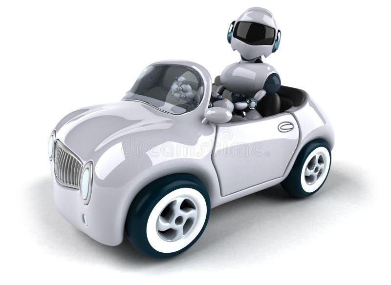 Robot i samochód royalty ilustracja