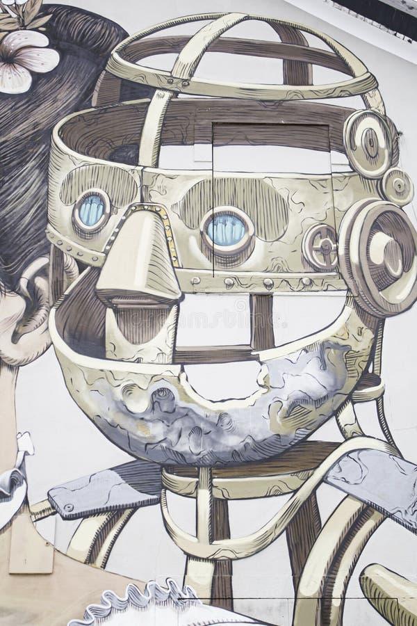 Robot i stads- vägg royaltyfri illustrationer
