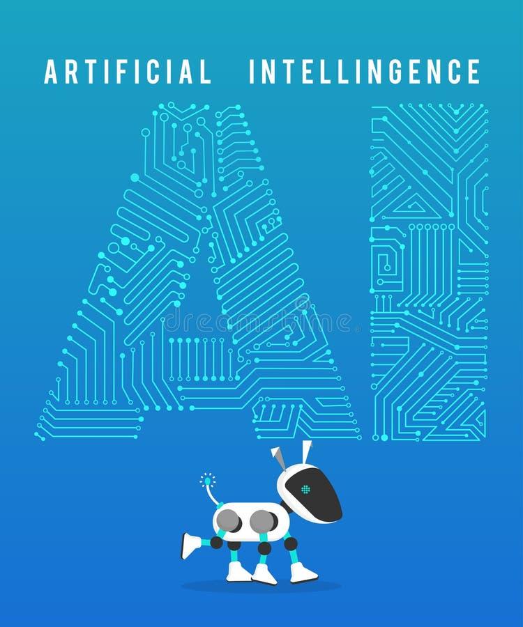 Robot i zaawansowany technicznie sztuczna inteligencja na błękitnym tle ilustracji