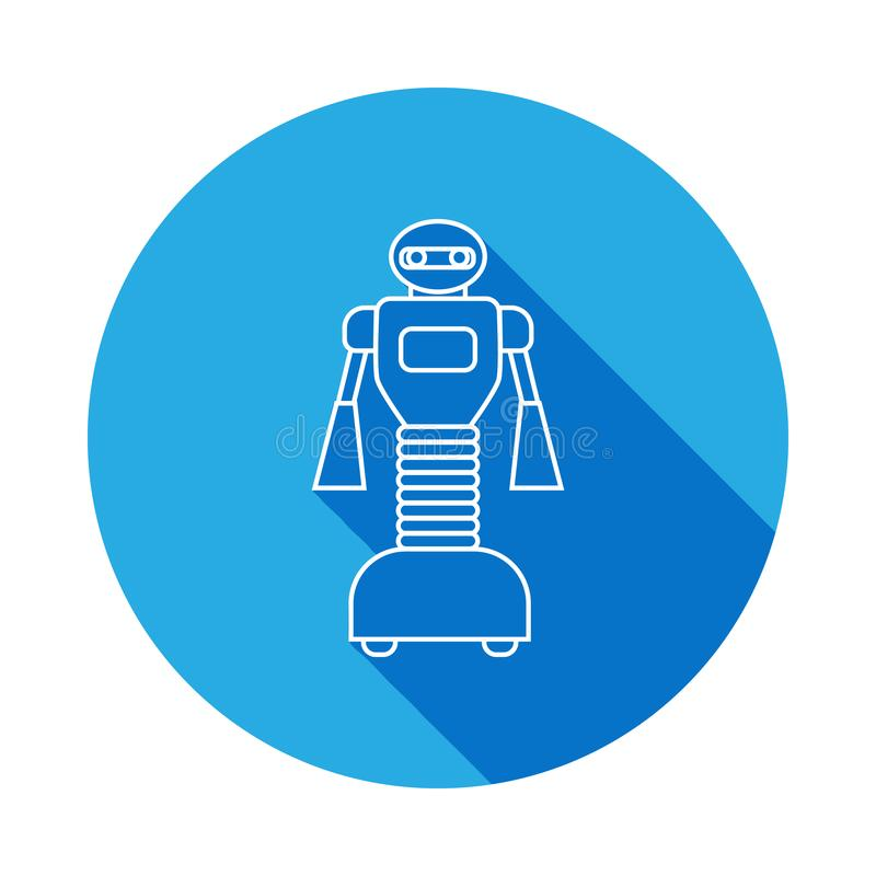 Robot icon with long shadow. Premium quality graphic design. Signs, symbols collection icon for websites, web design, on white. Background on white background vector illustration