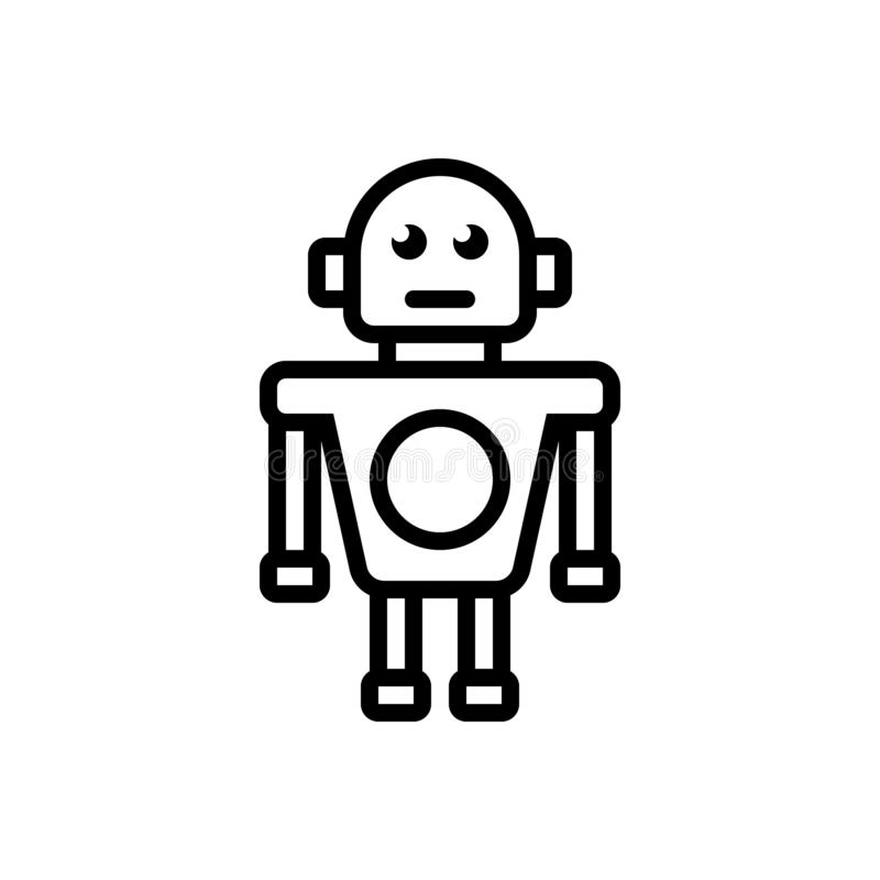 Black line icon for Robot, automatic and algorithm. Black line icon for Robot, robotic, application, artifical, software, machinery, mechanic,  automatic and vector illustration
