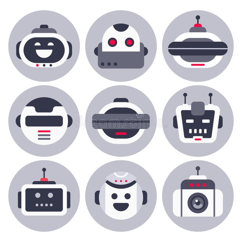 Robot icon. Robotic chatbot avatar, computer chat help bot robots and virtual assistant digital chatting bots isolated royalty free illustration