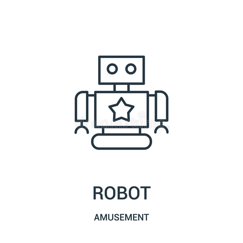 robot icon vector from amusement collection. Thin line robot outline icon vector illustration stock illustration