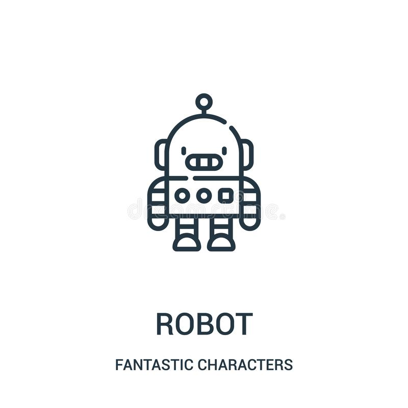 robot icon vector from fantastic characters collection. Thin line robot outline icon vector illustration vector illustration