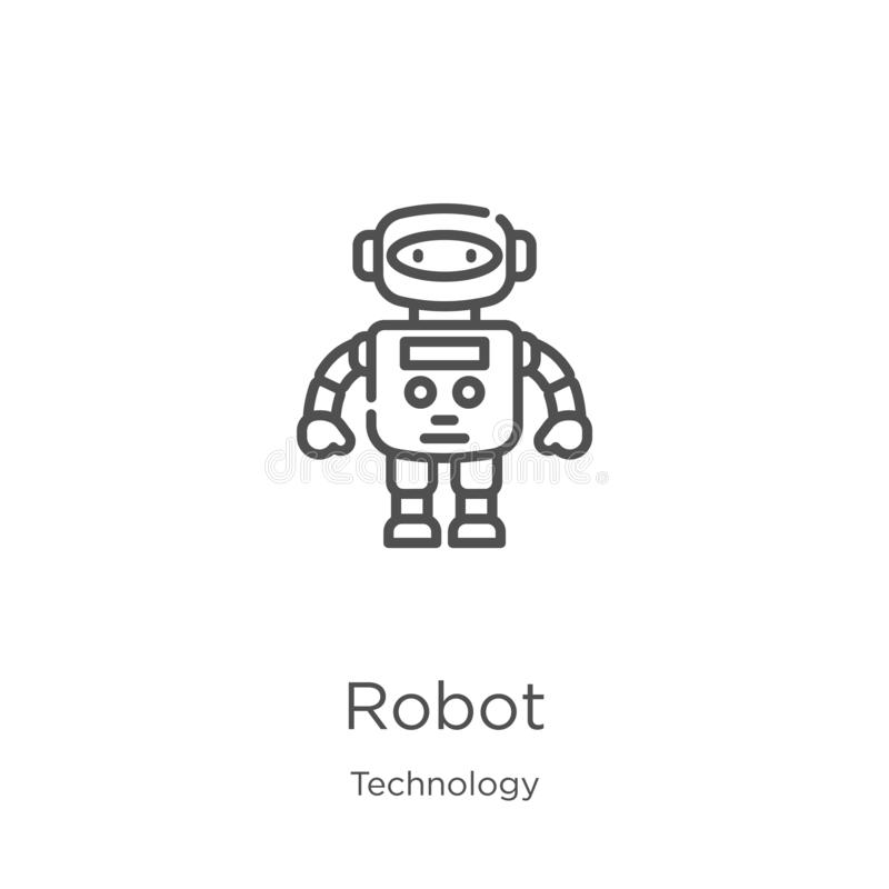 robot icon vector from technology collection. Thin line robot outline icon vector illustration. Outline, thin line robot icon for royalty free illustration