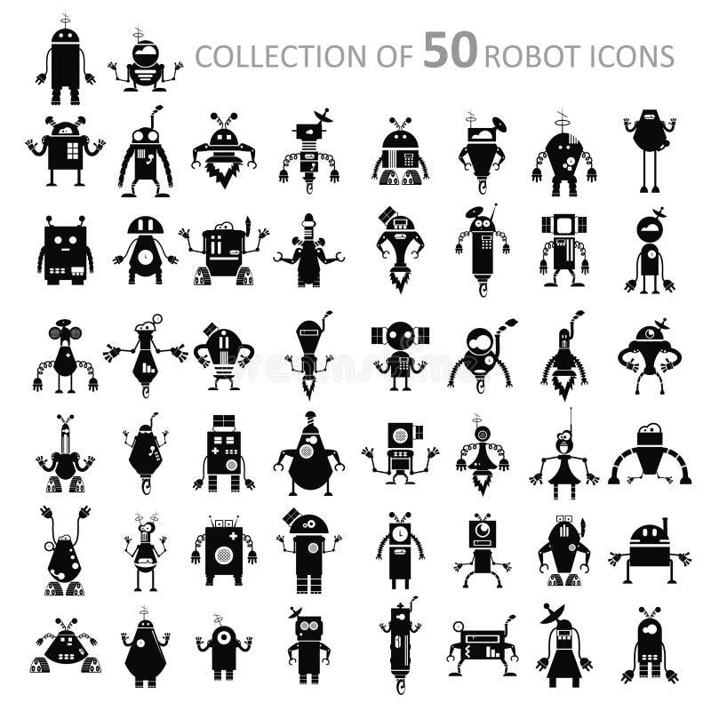 Robot icons. Vector image of black retro robot icons