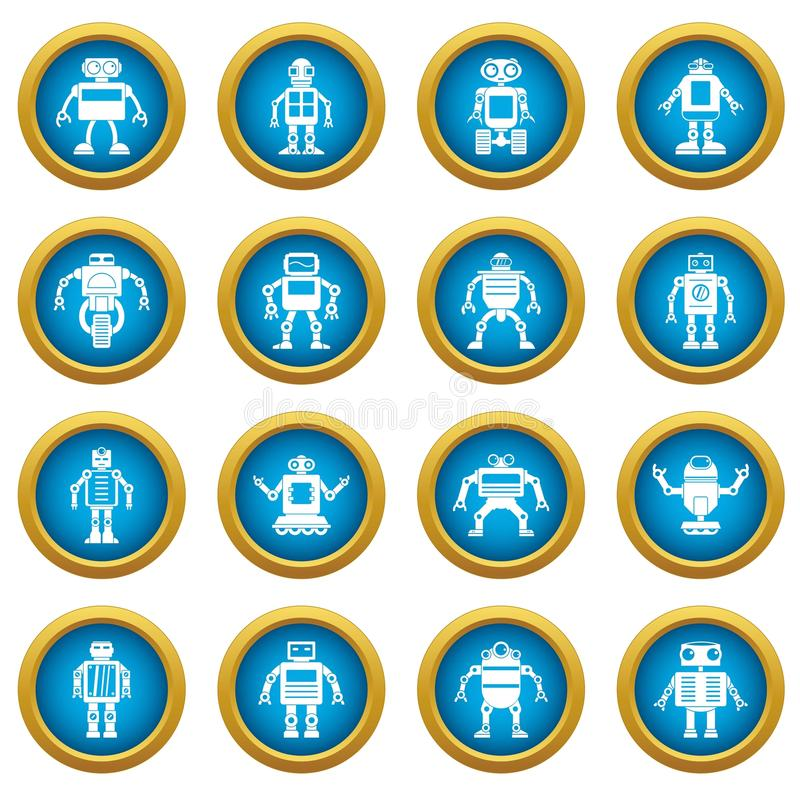 Robot icons blue circle set vector illustration