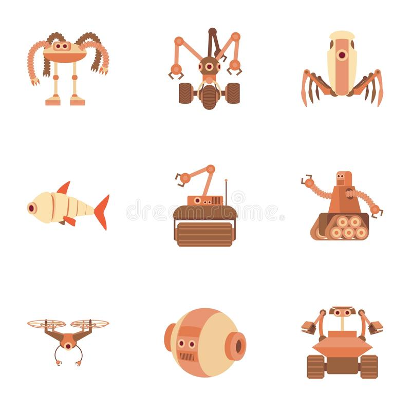 Robot icons set, cartoon style. Robot icons set. Cartoon set of 9 robot vector icons for web on white background vector illustration
