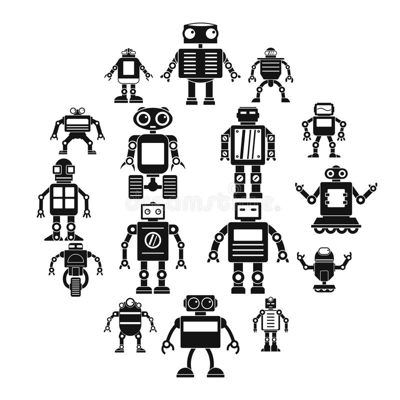 Robot icons set, simple style stock illustration