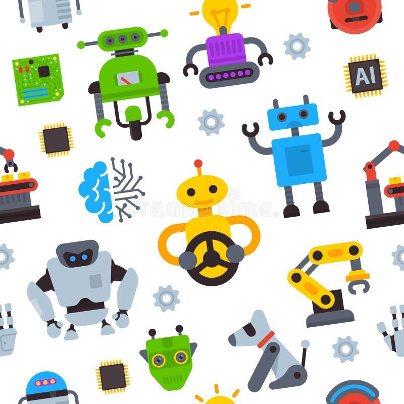 Robot ikon wektoru logo technologii robocop ustalonej mechanicznej maszynowej postaci z kreskówki AI sztuczna inteligencja robote ilustracji