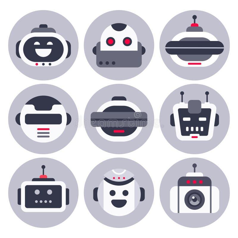 Robot ikona Mechaniczny chatbot avatar, komputerowi gadki pomocy larwy roboty i wirtualne pomocnicze cyfrowe gawędzenie larwy odi royalty ilustracja
