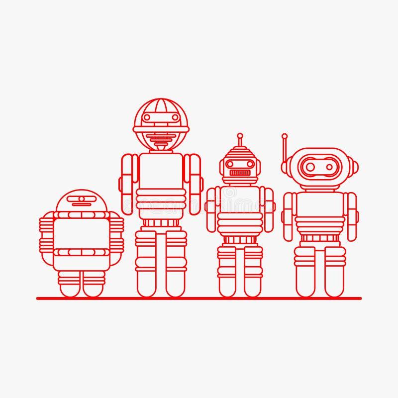 Robot ikony, kreskówka roboty ilustracji