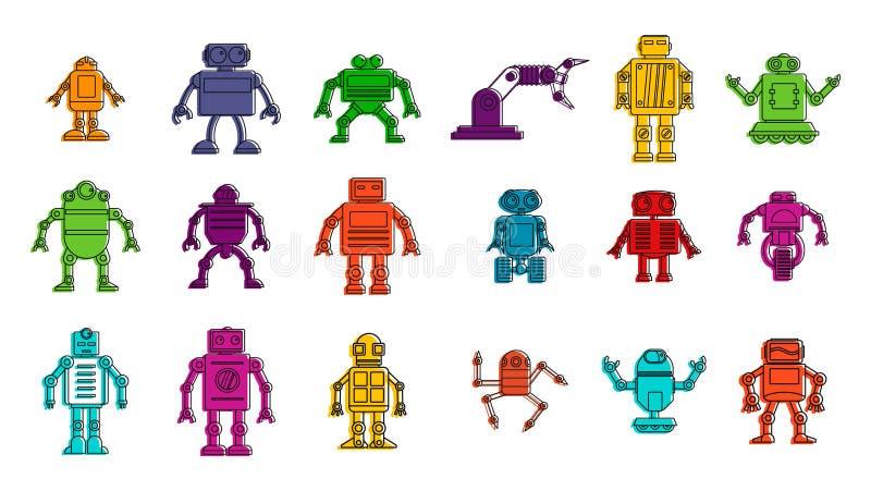 Robot ikony set, koloru konturu styl