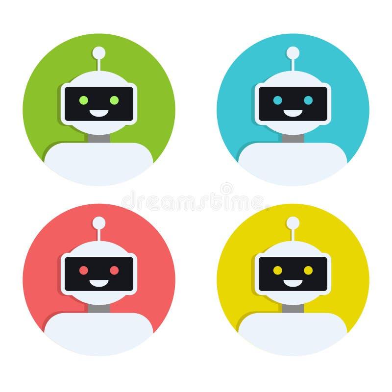 Robot ikony set Larwa znaka projekt Chatbot symbol, loga szablon Nowożytna mieszkanie stylu postać z kreskówki ilustracja royalty ilustracja