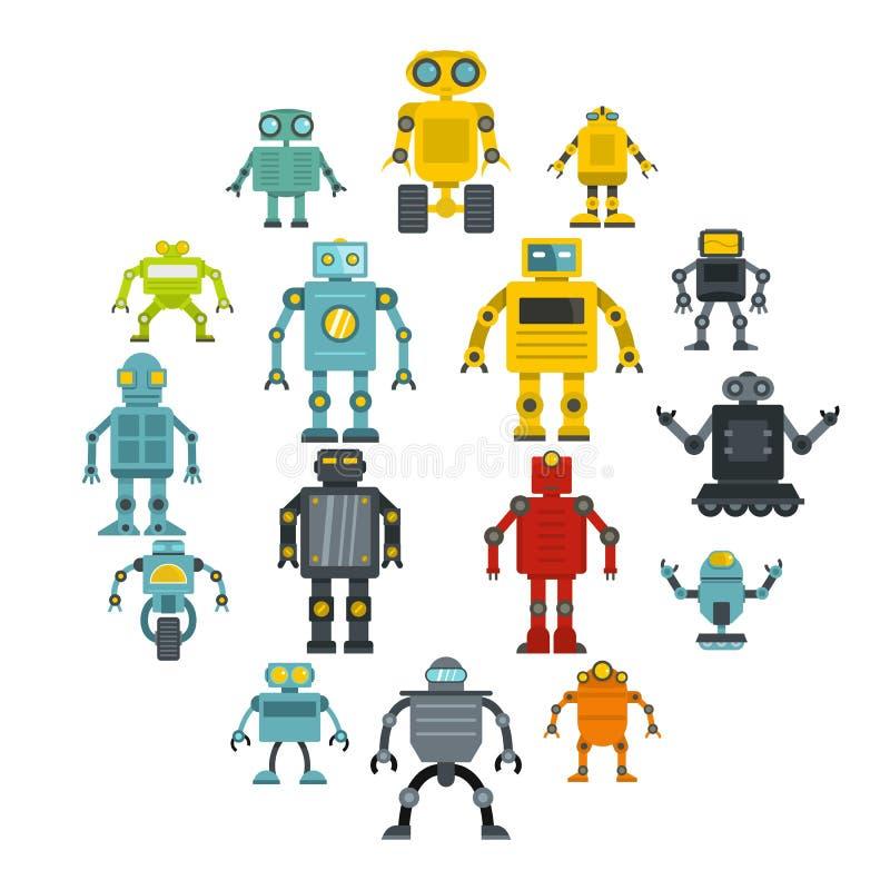 Robot ikony ustawiać w mieszkanie stylu ilustracja wektor