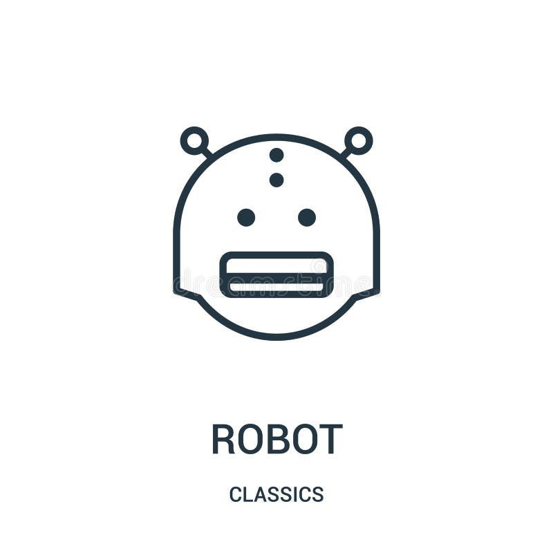 robot ikony wektor od klasyków inkasowych Cienka kreskowa robota konturu ikony wektoru ilustracja Liniowy symbol royalty ilustracja