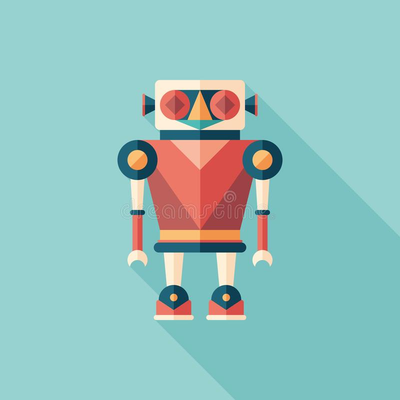 Robot illusionist flat square icon with long shadows. vector illustration