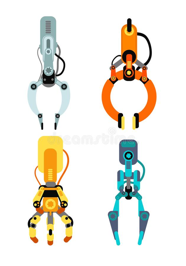 Robot industrial claws. Machine claw gripping gaming device for risk game vector set isolated. Mechanical industry grabber machine, robot tool illustration royalty free illustration