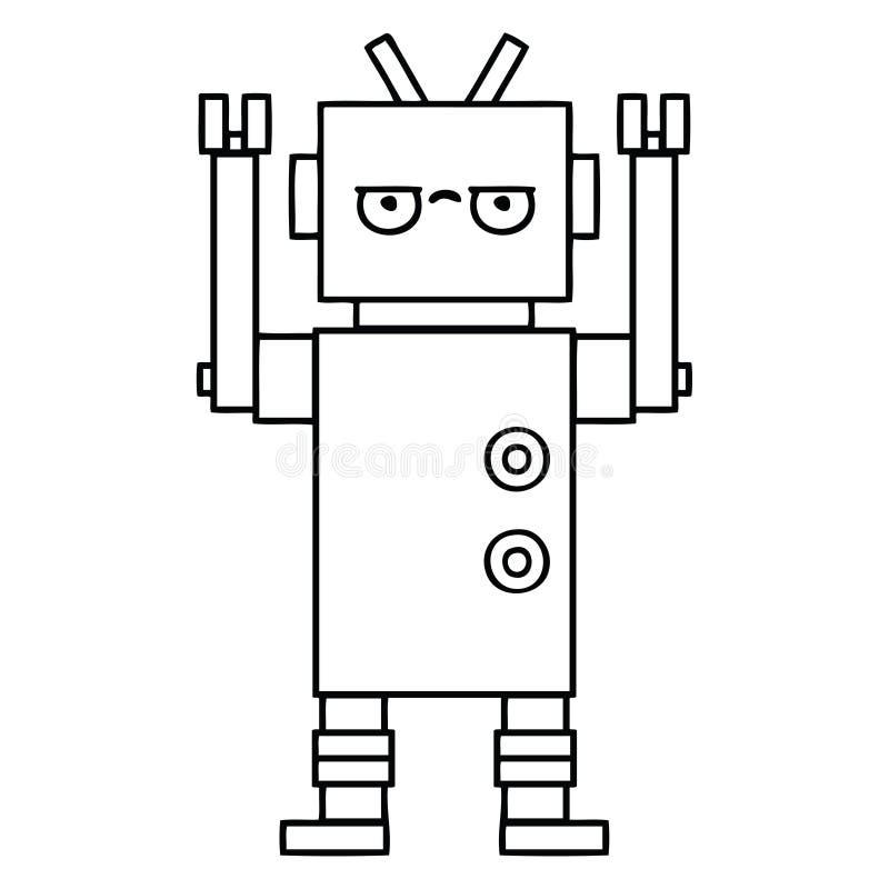 robot infastidito fumetto del disegno a tratteggio illustrazione di stock