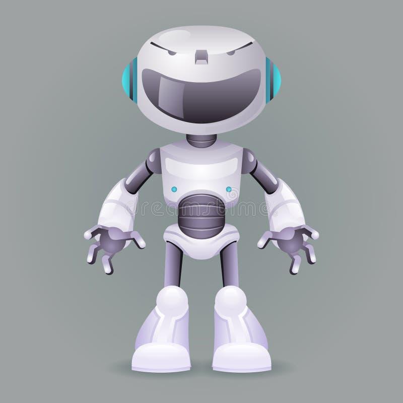 Robot innovation technology science fiction future cute little 3d design vector illustration royalty free illustration