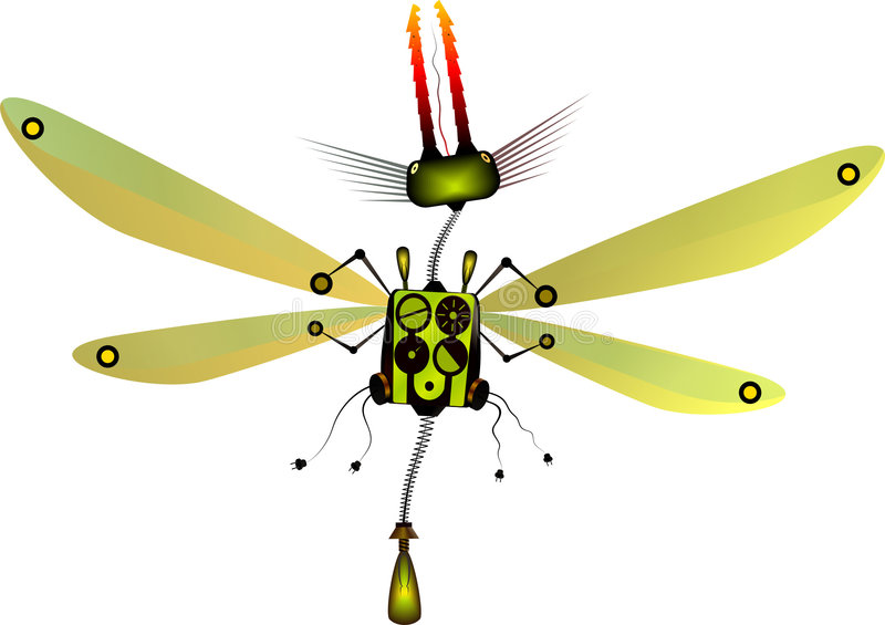 Robot insect. The mechanical dragonfly. Vector image stock illustration