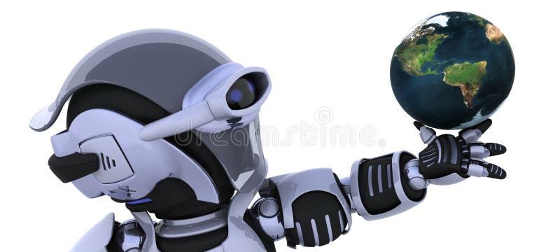 Robot inspecting a globe vector illustration