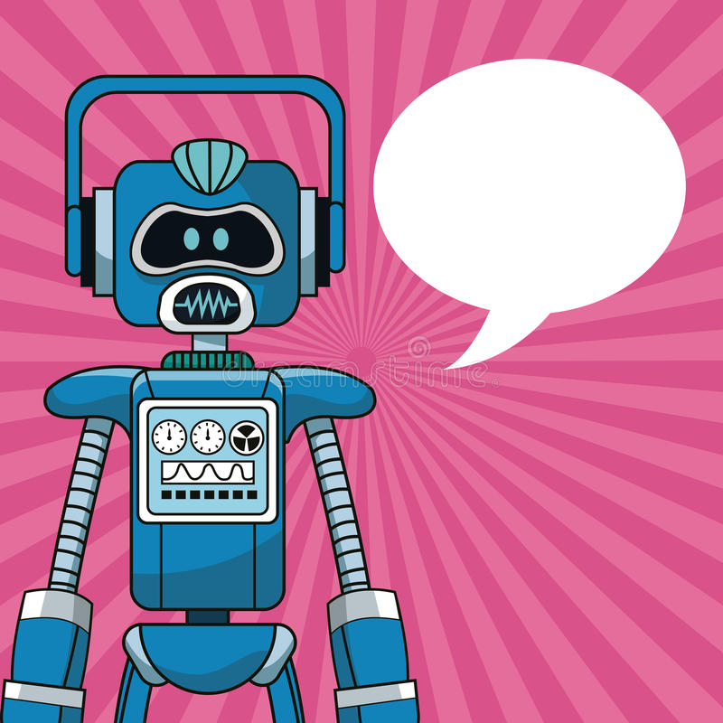 Robot intelligence artificial bubble speech royalty free illustration