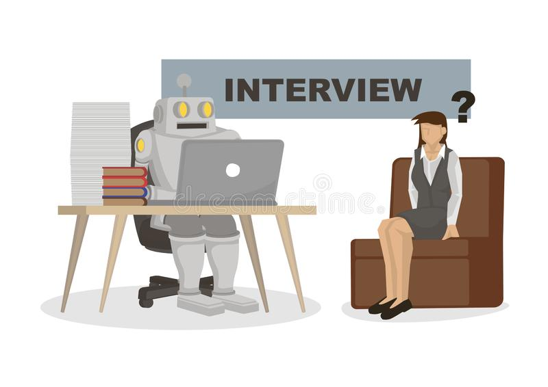 Robot interviewing an office worker. Depicts automation, future job market and artificial intelligence royalty free illustration